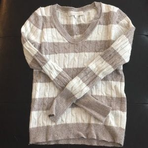 LOFT sweater XS beige and brown stripe